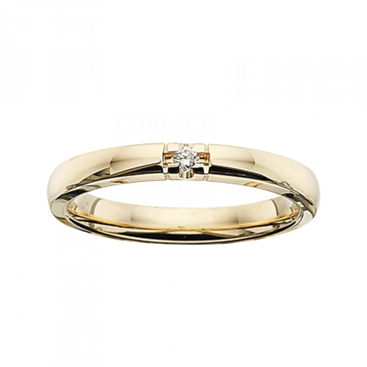 GRACE alliancering 14 karat guld med 1 x 0,03 ct W/SI brillant-30