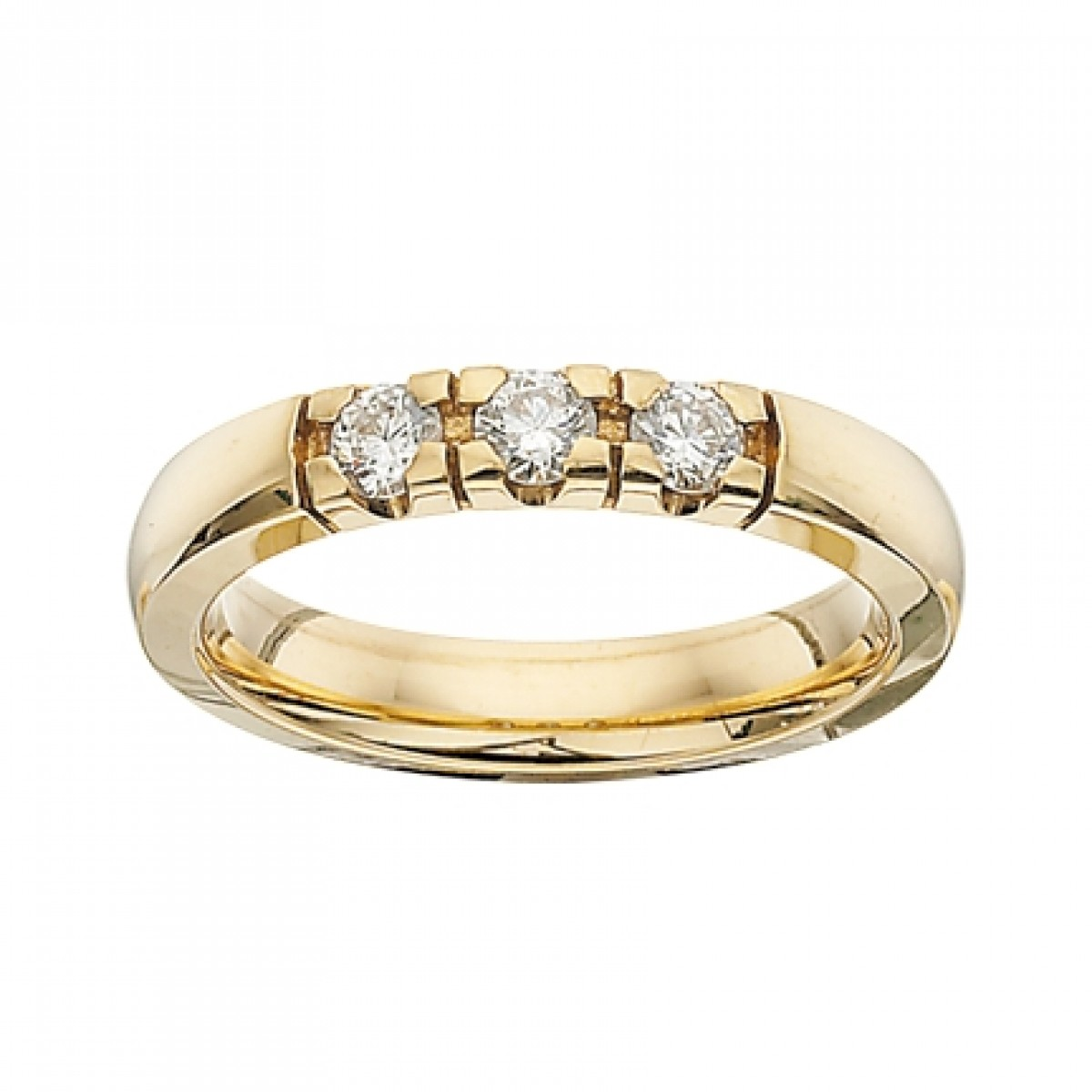 GRACE alliancering 14 karat guld med 3 x 0,11 ct W/SI brillanter-3