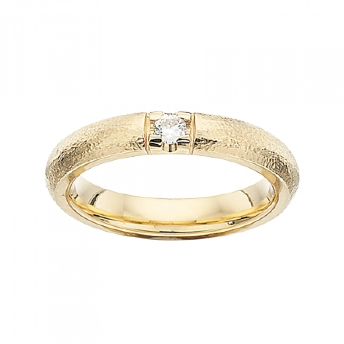 GRACE Rustik alliancering 14 karat guld med 1 x 0,09 ct W/SI brillant-3
