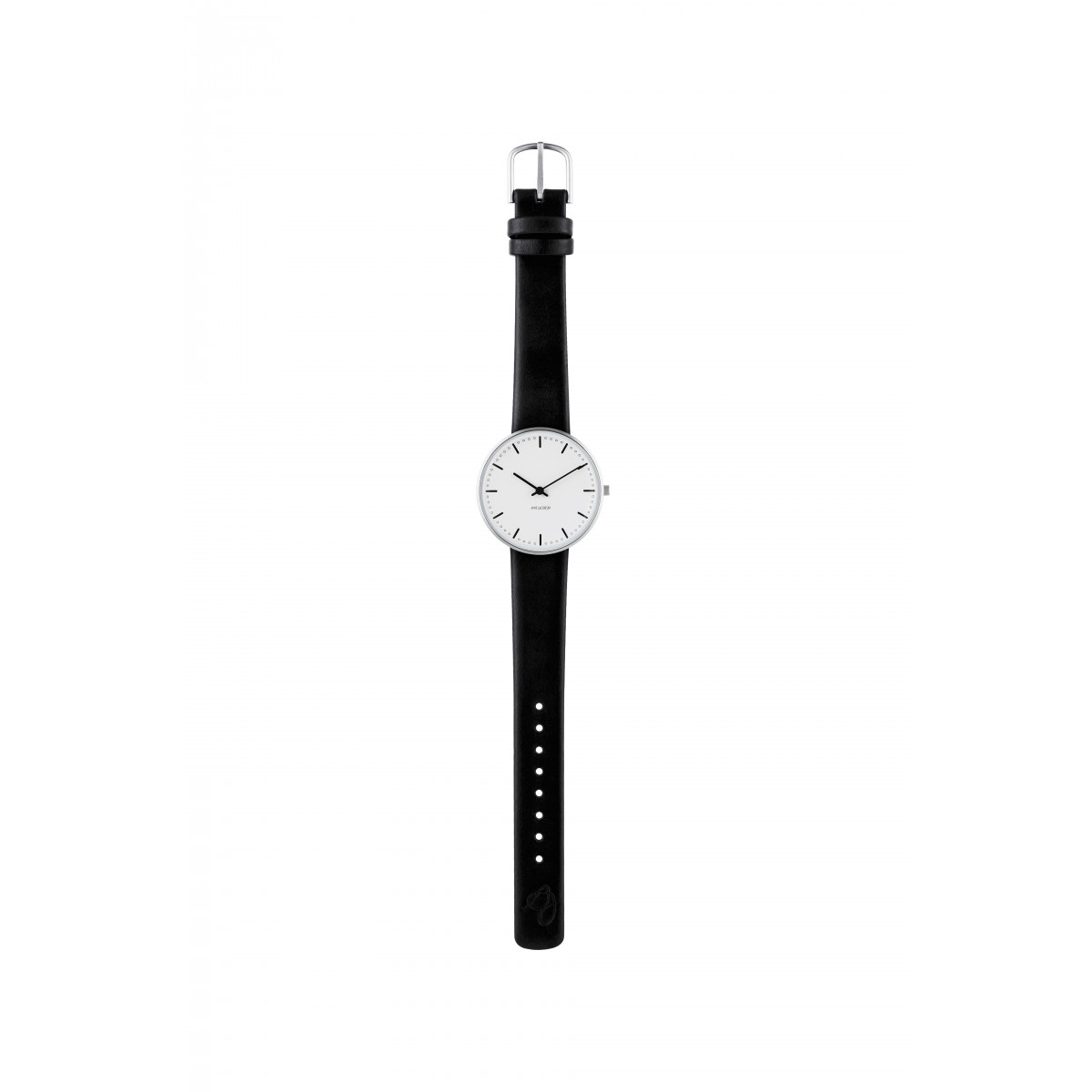 Arne Jacobsen armbåndsur CITY HALL 34, 40 and 46 MM sort rem/hvid skive-30