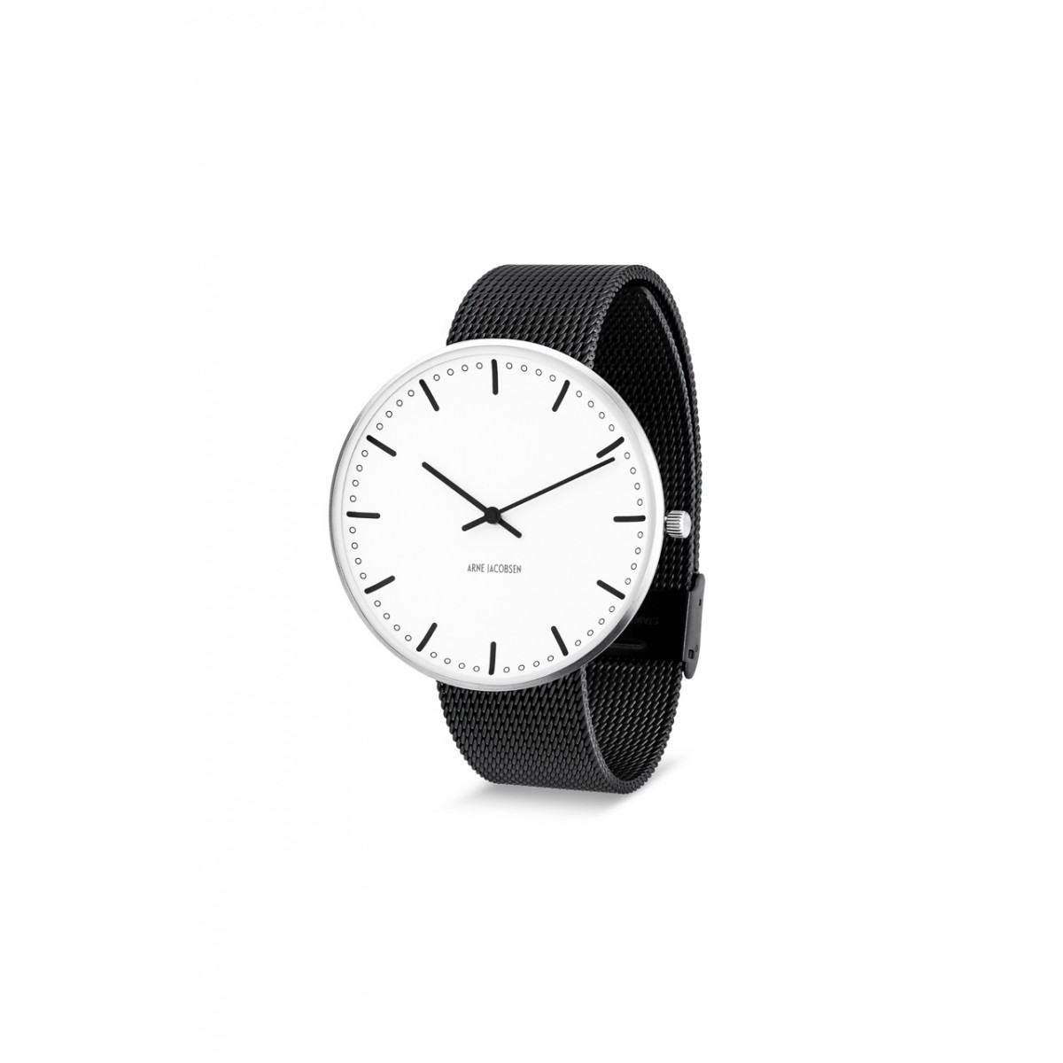 Arne Jacobsen armbåndsur CITY HALL 34, 40 and 46 MM sort rem/hvid skive-3