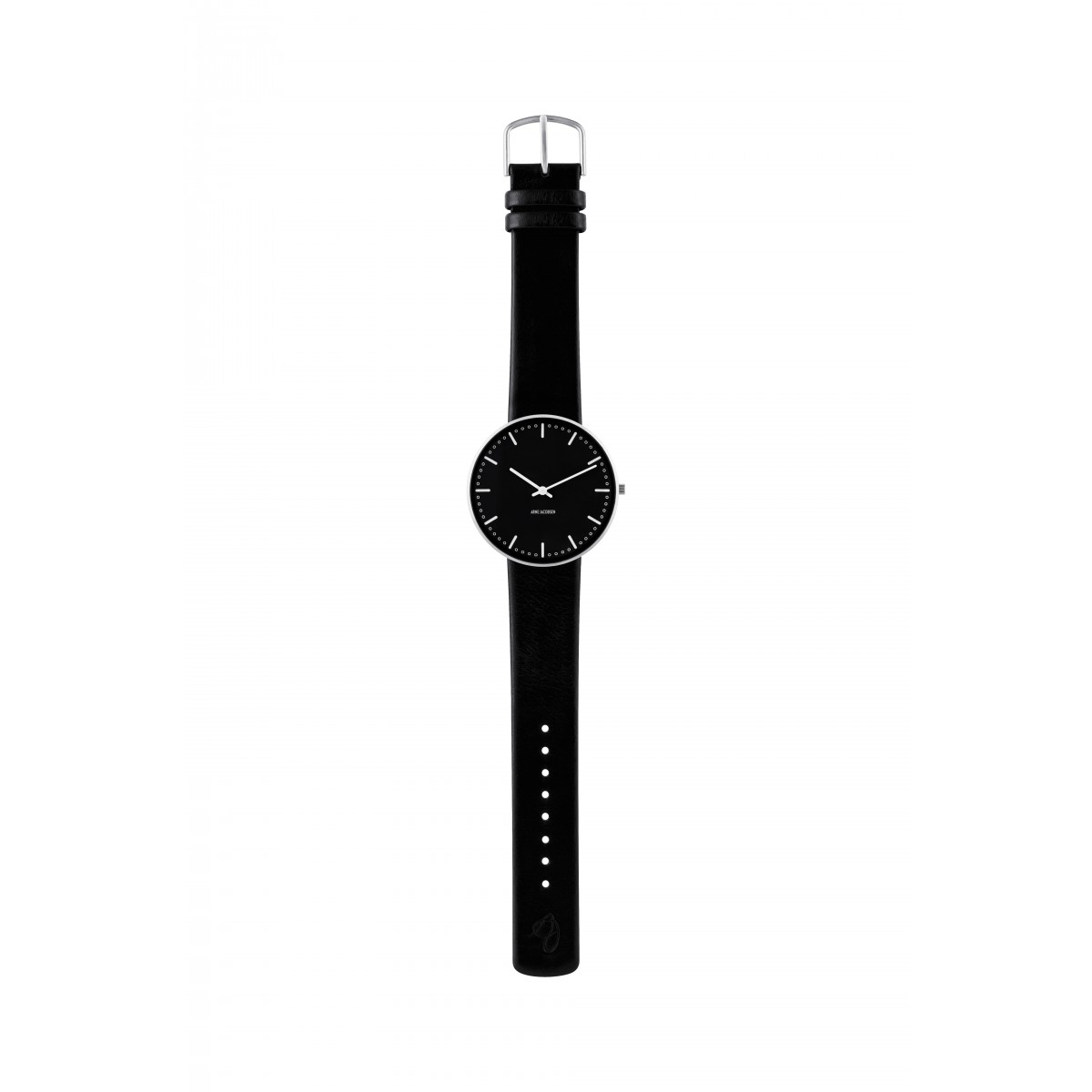 Arne Jacobsen armbåndsur CITY HALL 40 MM sort rem/sort skive-3