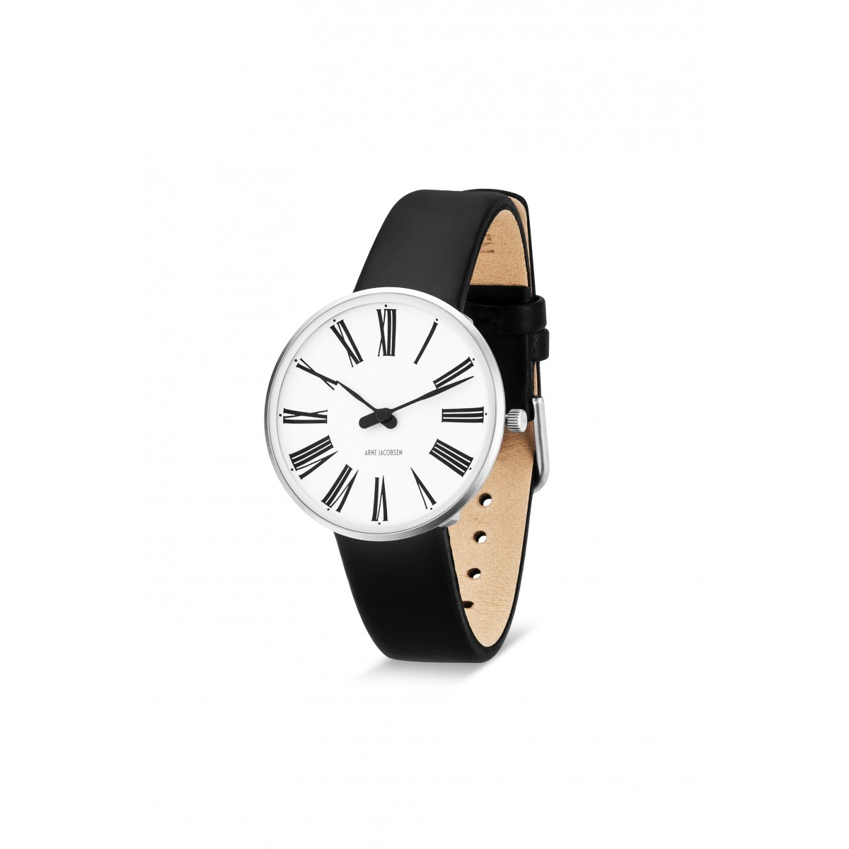 Arne Jacobsen armbåndsur ROMAN 34 and 40 MM sort rem/hvid skive-30