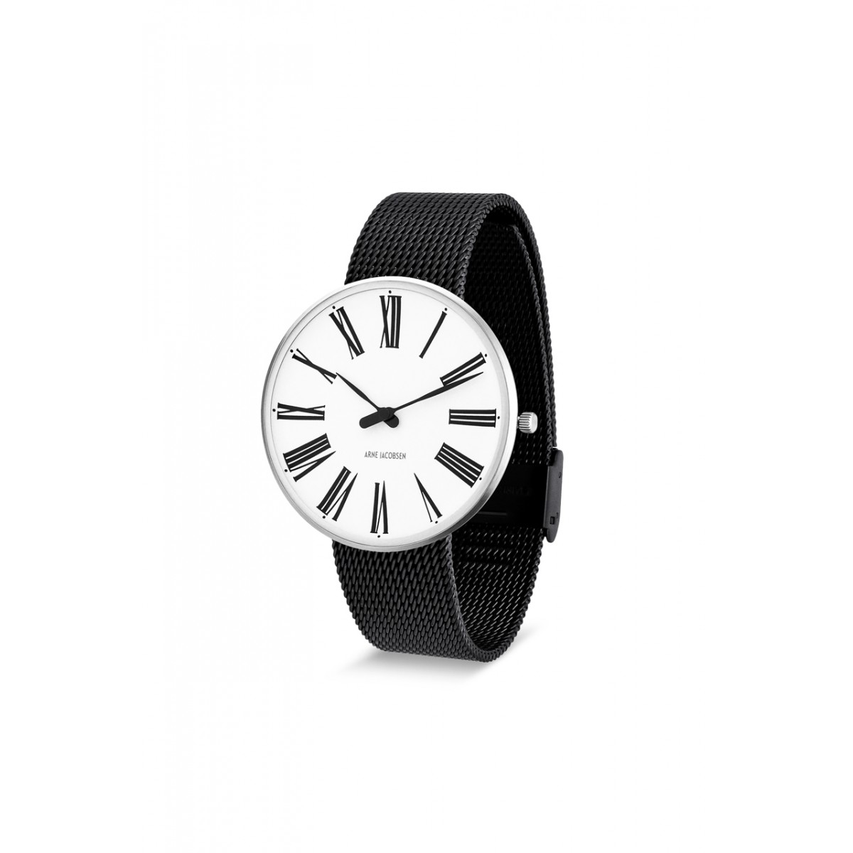 Arne Jacobsen armbåndsur ROMAN 34 and 40 MM sort mesh rem/hvid skive-30