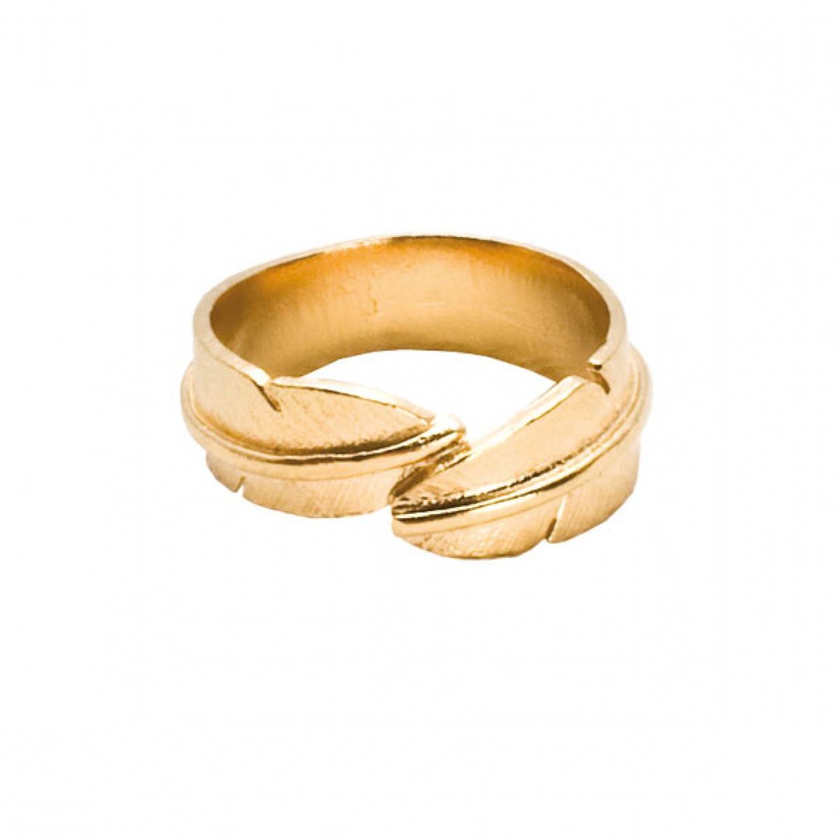 HEIRING Feather Ring small forgyldt-30