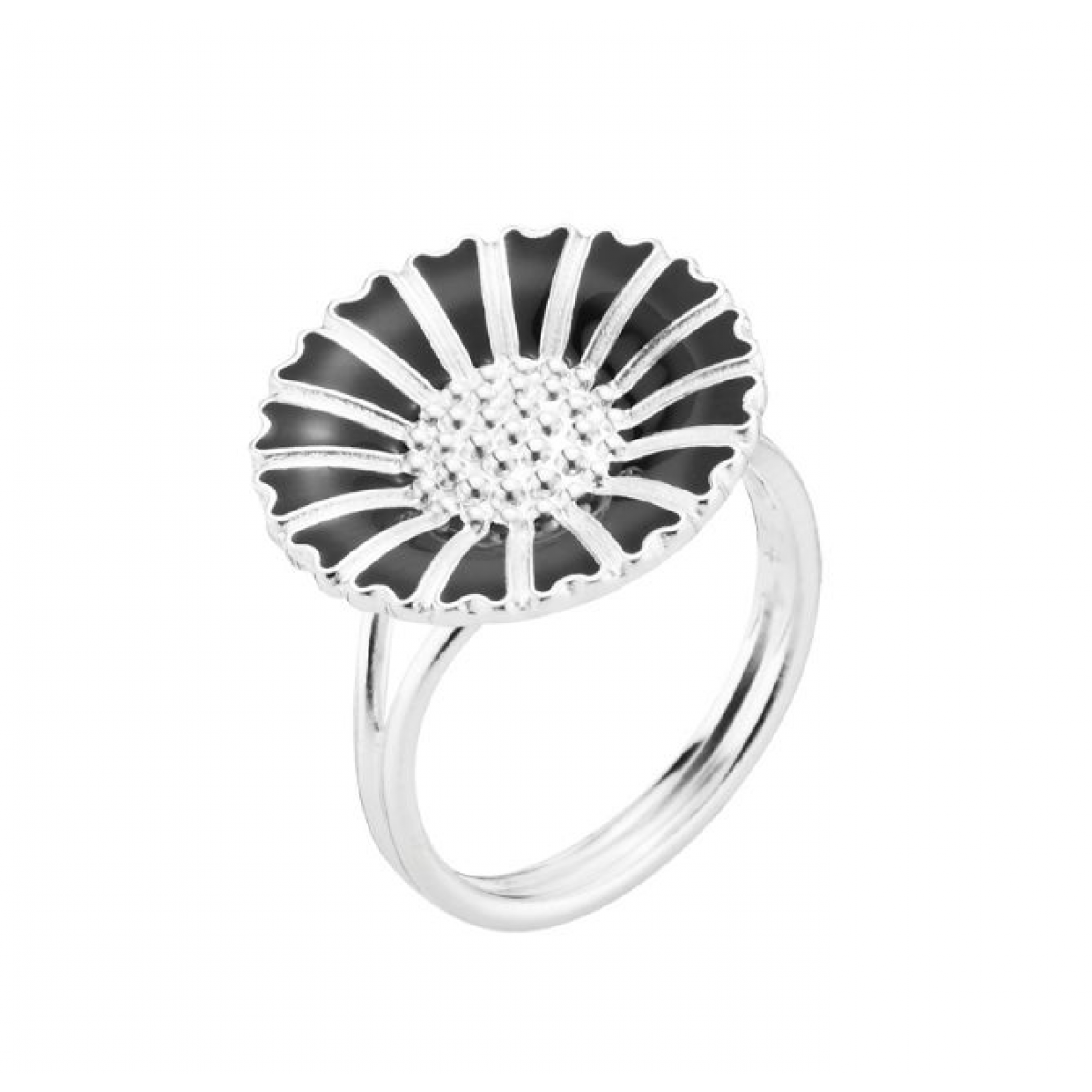 Lund Copenhagen marguerit ring 18 mm sølv/sort 907018-S-3