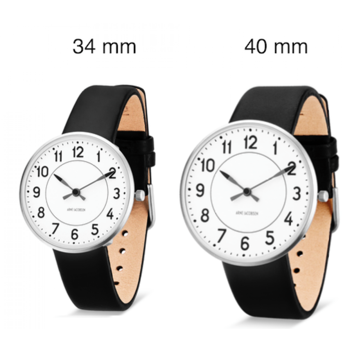 Arne Jacobsen armbåndsur STATION 34 and 40 MM sort rem-3