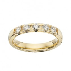 GRACE alliancering 14 karat guld med 5 x 0,11 ct W/SI brillanter-20