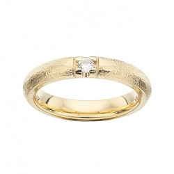 GRACE Rustik alliancering 14 karat guld med 1 x 0,09 ct W/SI brillant-20