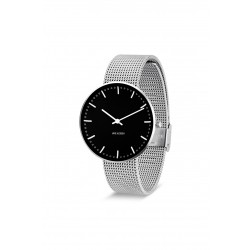Arne Jacobsen armbåndsur CITY HALL 40 MM STÅL mesh rem/sort skive-20