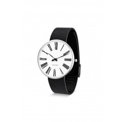 Arne Jacobsen armbåndsur ROMAN 34, 40 and 46 MM sort mesh rem/hvid skive-20