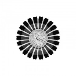Lund Copenhagen marguerit broche 43 mm sølv/sort 904043-S-20