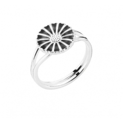Lund Copenhagen marguerit ring 11 mm sølv/sort 907011-S-20