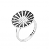 Lund Copenhagen marguerit ring 18 mm sølv/sort 907018-S-0
